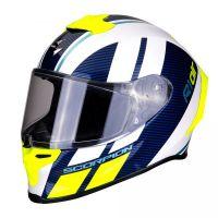 Scorpion Bukósisak EXO-R1 Air Corpus White - Blue - Neon Yellow
